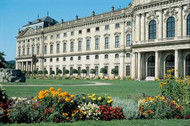 View of the Wuerzburg Residenz Palace from its colourful grounds