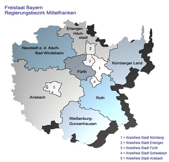 Landkreise Mittelfranken Karte.Regierungsbezirk Mittelfranken